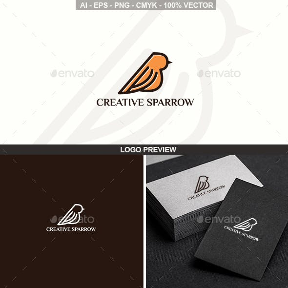 Sparrow Bird Logo Template
