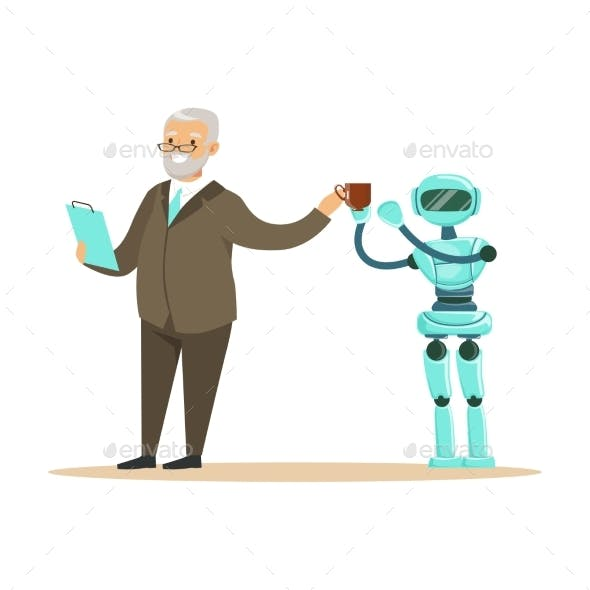 Humanoid Robot Bringing Coffee for a Smiling