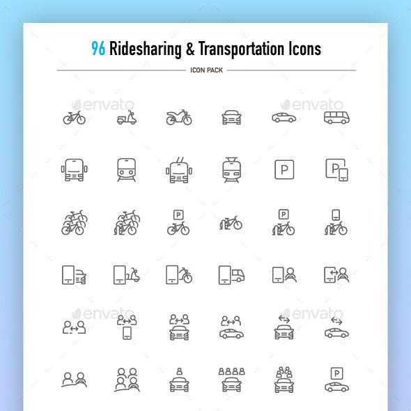 Ridesharing and Transportation Icons