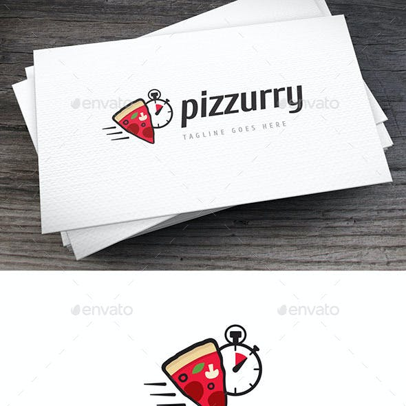 Hurry Pizza Logo Template