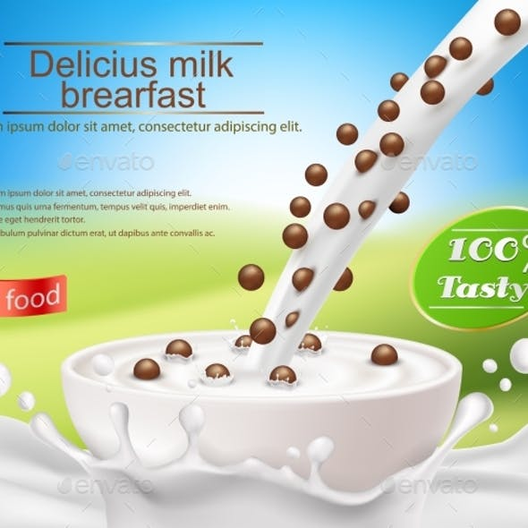 Vector Realistic Poster with a Milk Splash