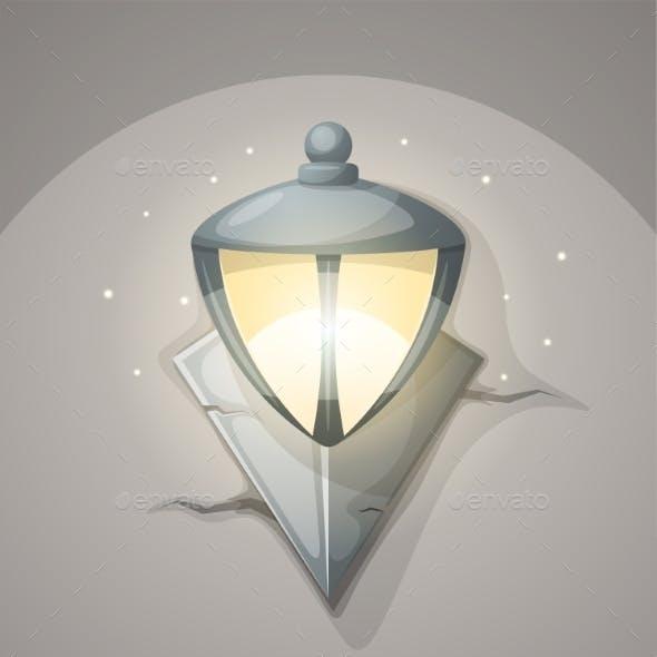 Lamp Wall Cartoon Illustration.