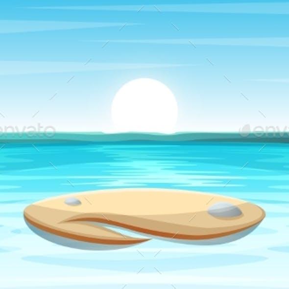 Cartoon Island Landscape Illustration.