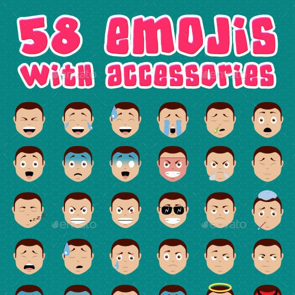 58 Emojis with Accessories