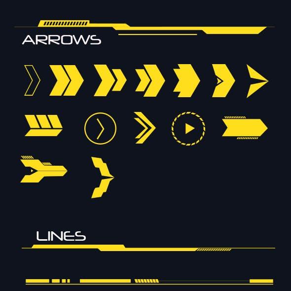 Hi-tech Lines and Arrows Set