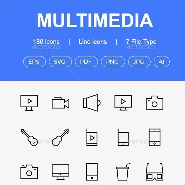 150+ Multimedia line icons