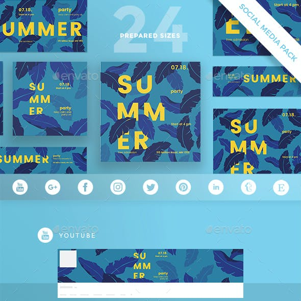 Summer Leaves Social Media Pack by ambergraphics