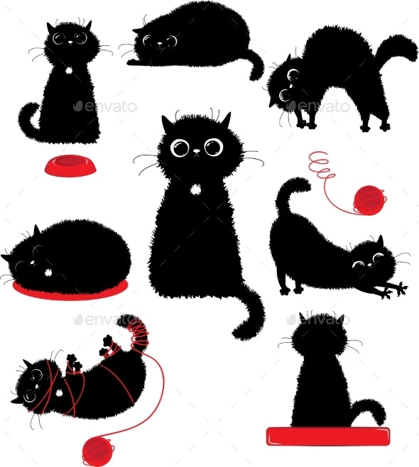 Black Kitty Playing - Animals Characters
