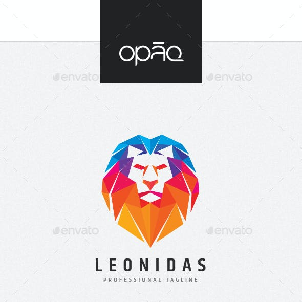 Colorful Polygons Lion Head Logo