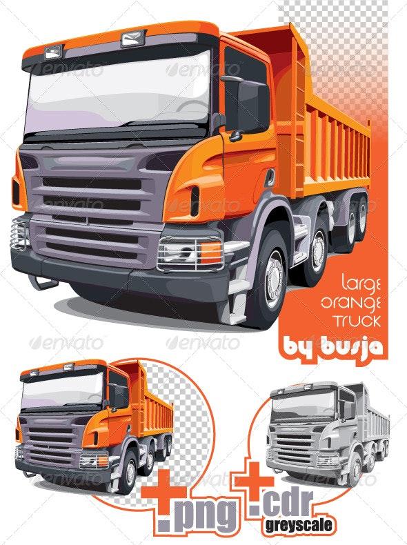 Large orange truck - Objects Vectors