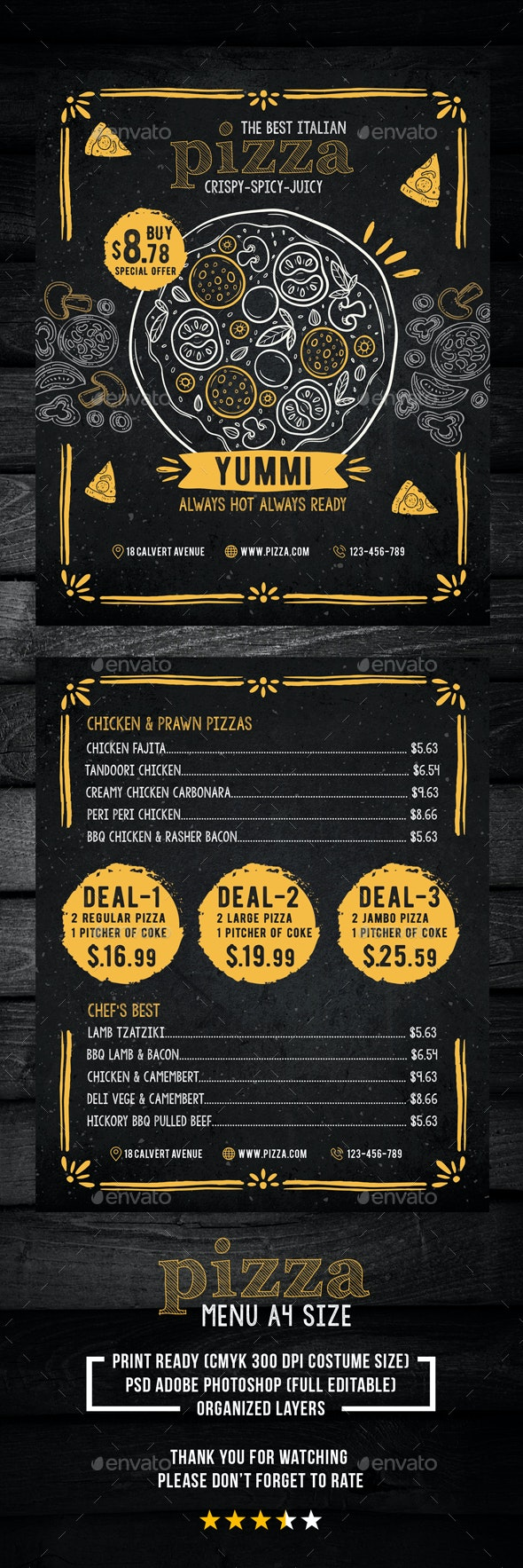 Pizza Food Menu - Restaurant Flyers