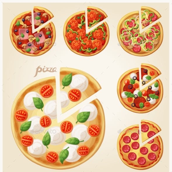 Pizza Top View Set. Italian Pizza with Slices
