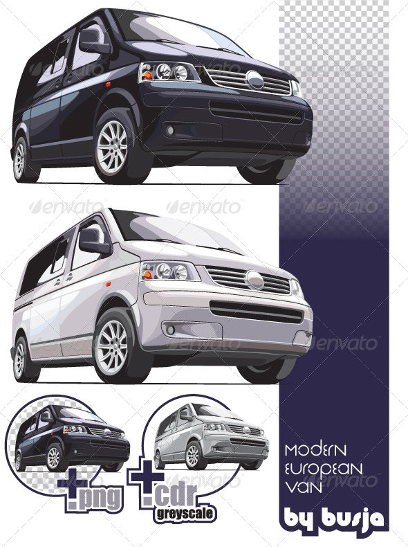 Modern european van - Objects Vectors