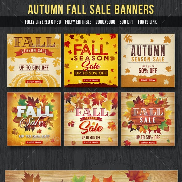 Autumn Fall Sale Banners