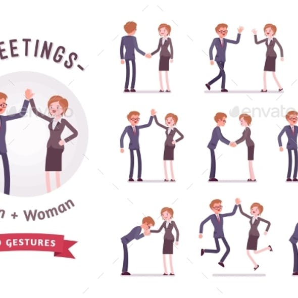 Business People Greeting Character Set, Various
