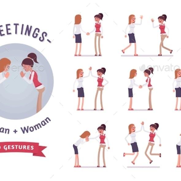 Female Clerks Greeting Character Set, Various