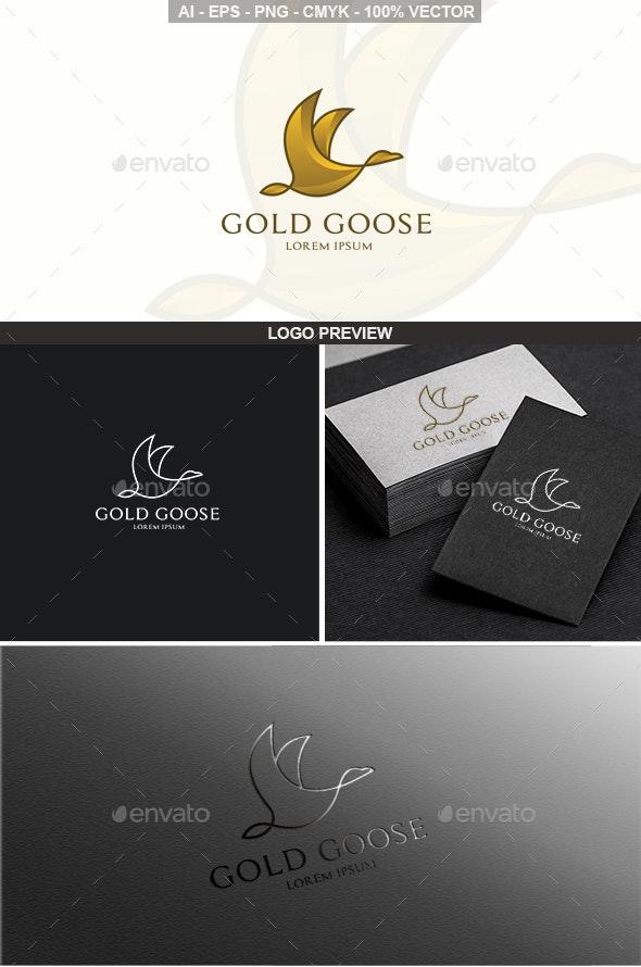 Gold Goose Bird Logo - Animals Logo Templates