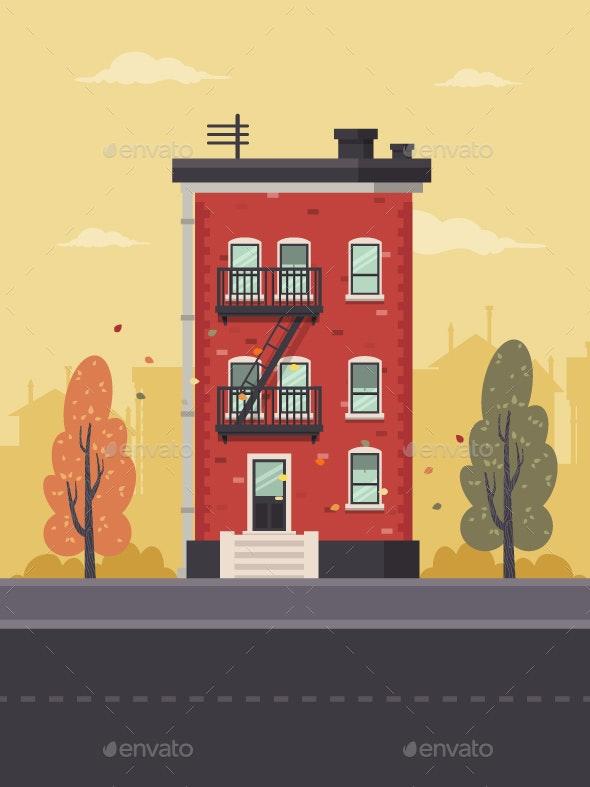 Autumn in Brooklyn - Buildings Objects