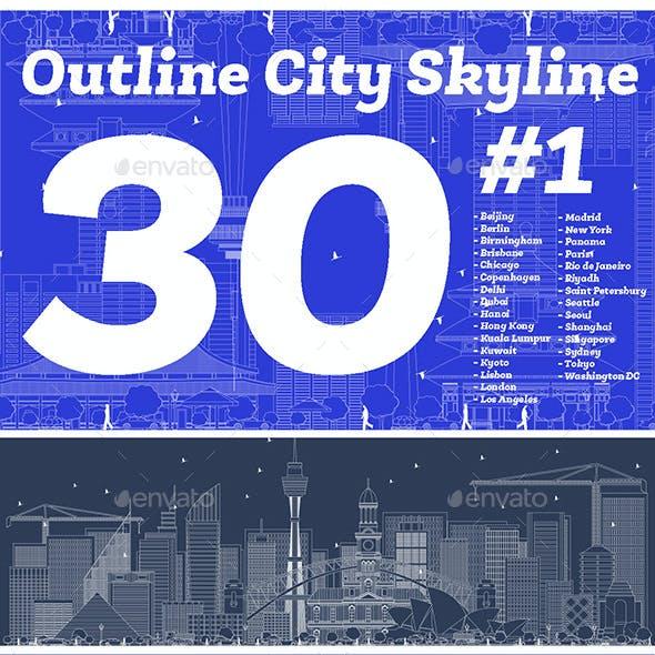 30 Outline City Skyline Set