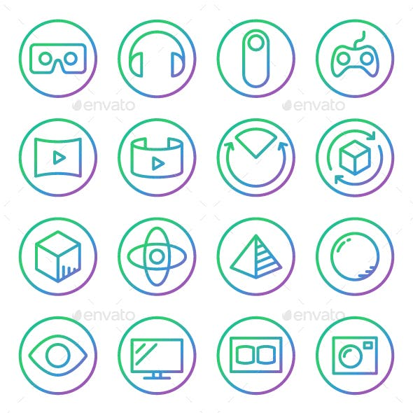 Gradient Rounded Line icons for Virtual Reality.