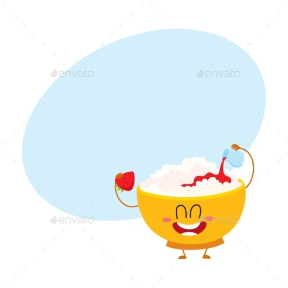 Smiling Cottage Cheese Bowl Character Pouring