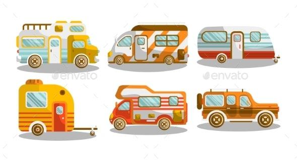 Camping Bus or Camper Van Vector Illustration - Miscellaneous Vectors