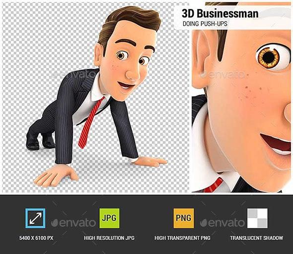 3D Businessman Doing Push-ups - Characters 3D Renders