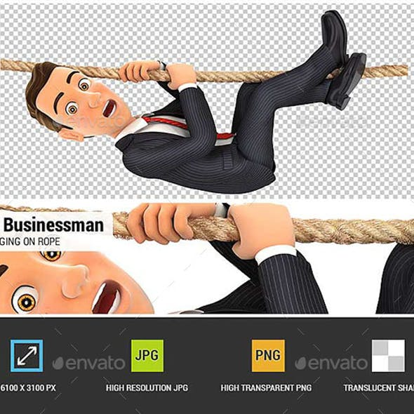3D Businessman Hanging on Rope