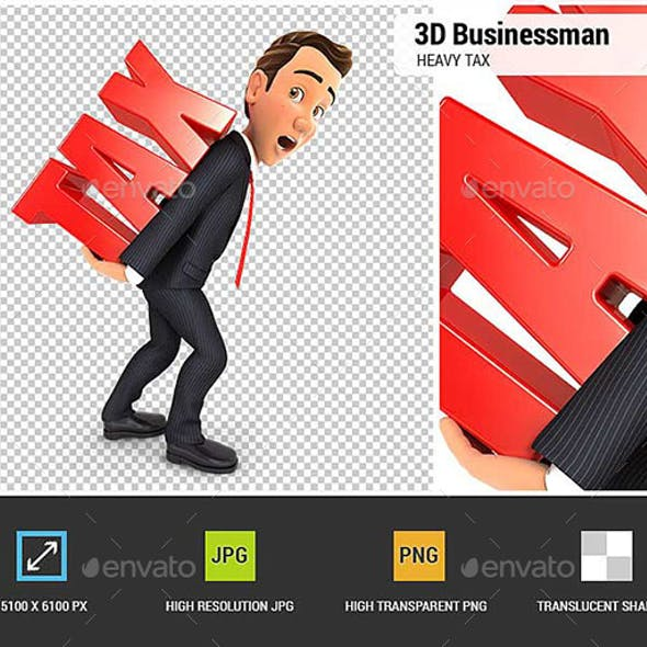 3D Businessman Heavy Tax