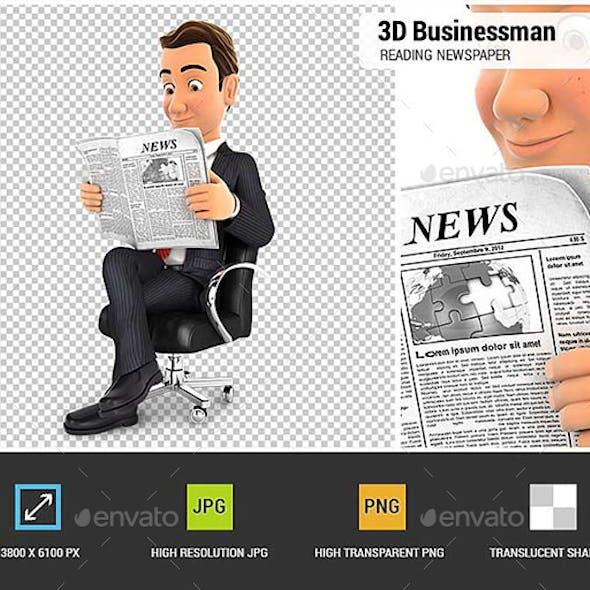 3D Businessman is Reading a Newspaper