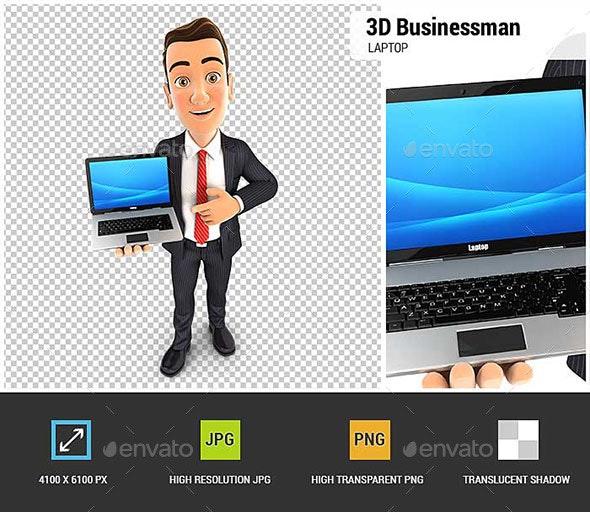 3D Businessman Laptop - Characters 3D Renders