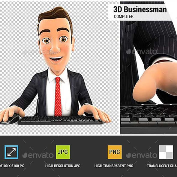 3D Businessman Looking at his Computer