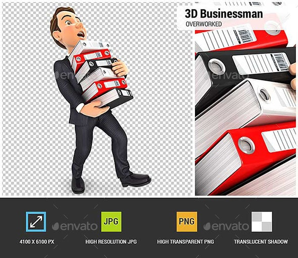 3D Businessman Overworked - Characters 3D Renders