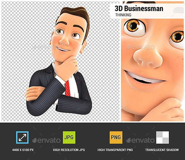 3D Businessman Thinking - Characters 3D Renders