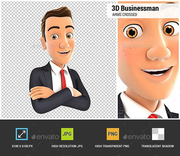 3D Businessman with Arms Crossed - Characters 3D Renders