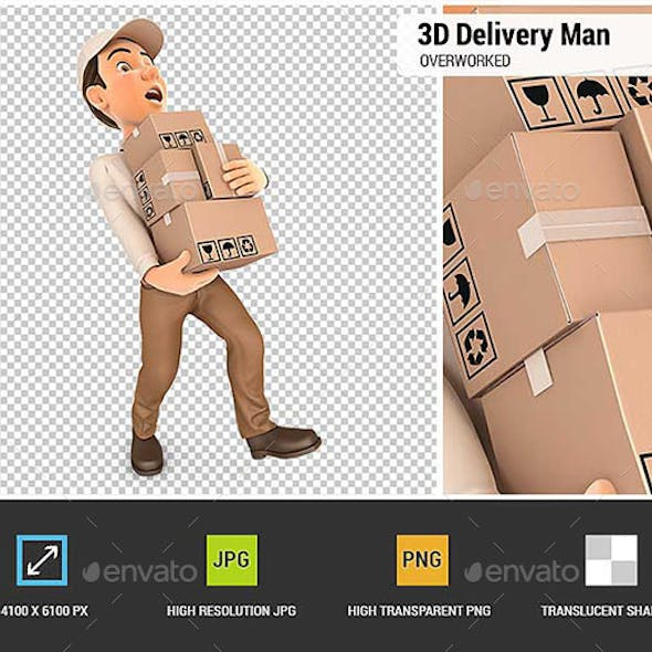 3D Delivery Man Overworked
