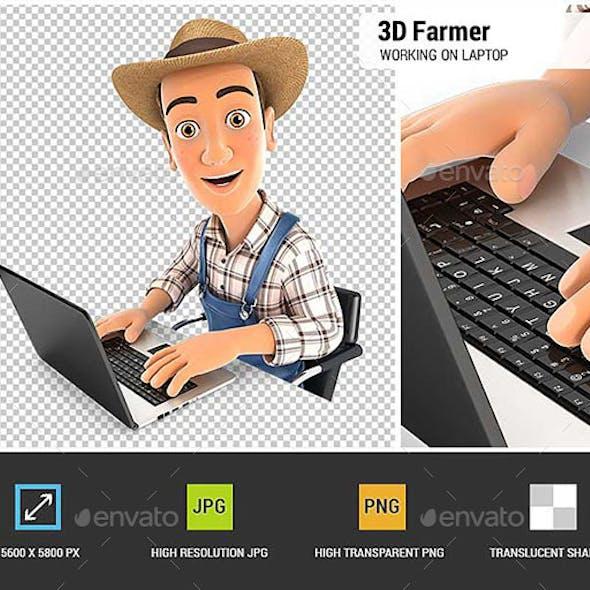 3D Farmer Working on Laptop