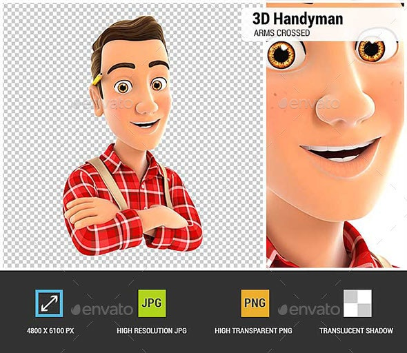 3D Handyman with Arms Crossed - Characters 3D Renders