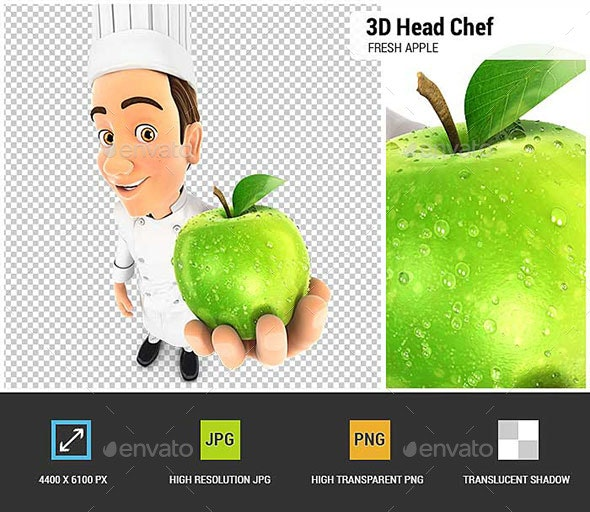 3D Head Chef Holding Fresh Apple - Characters 3D Renders