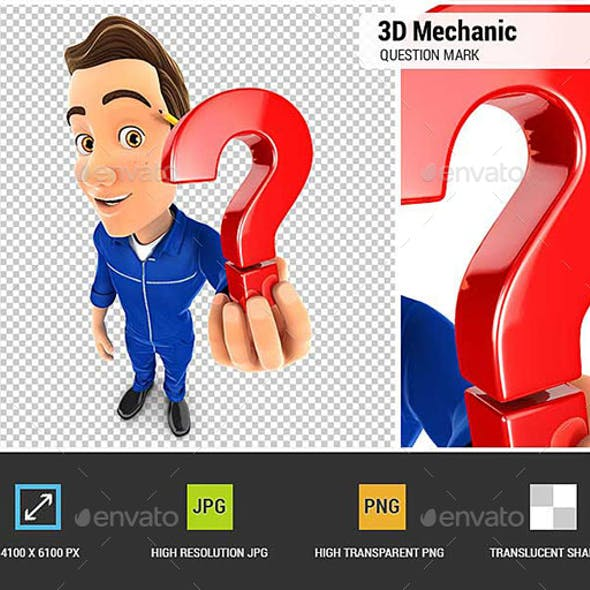 3D Mechanic Holding a Question Mark Icon