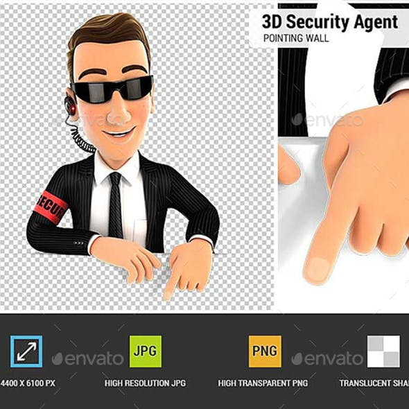 3D Security Agent Pointing to Empty Wall