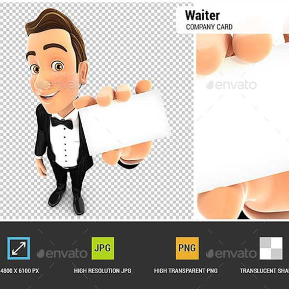 3D Waiter Holding Company Card