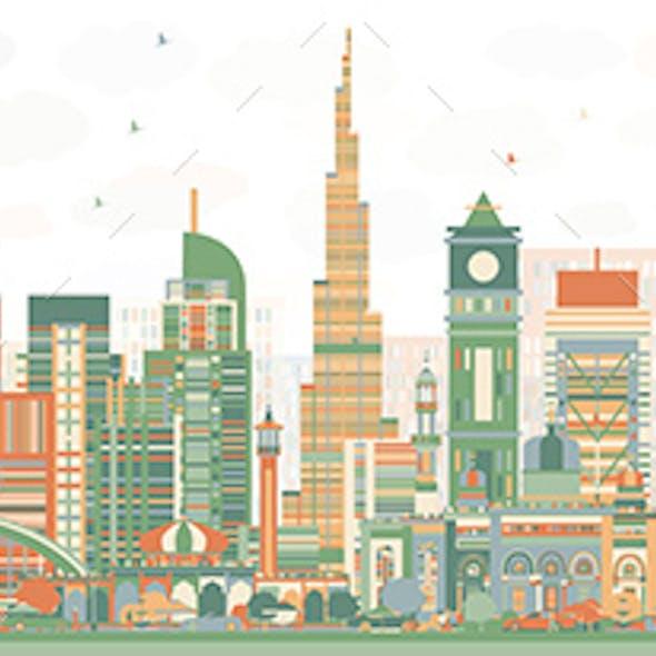 Abstract Dubai UAE Skyline with Color Buildings.