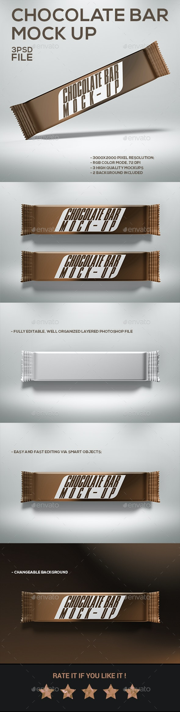 Chocolate Bar Mock-Up - Food and Drink Packaging