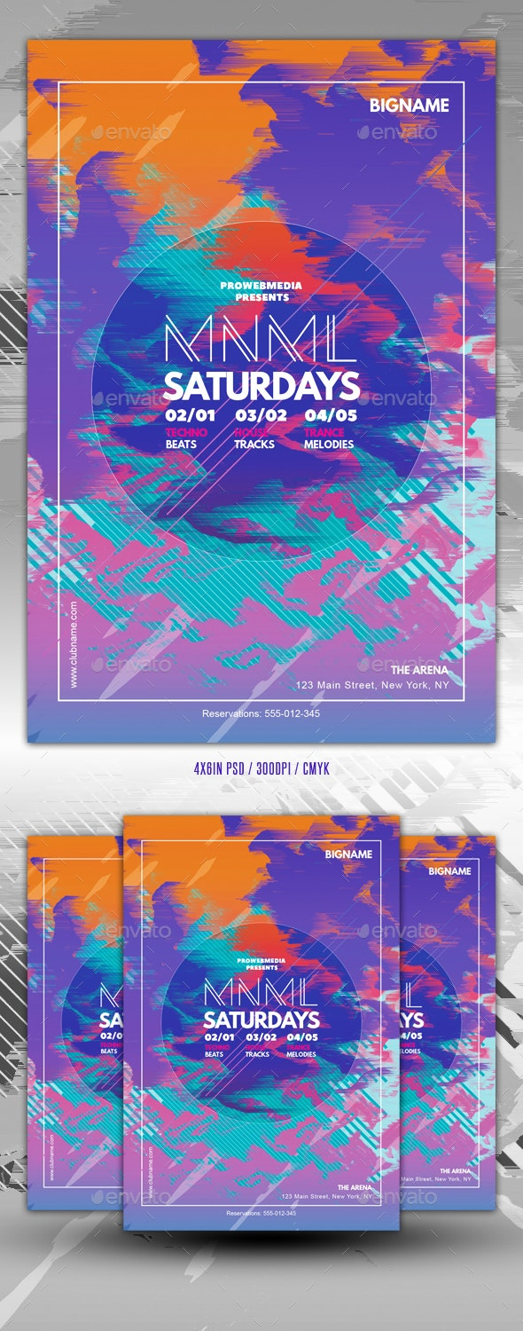 Abstract Minimal Colorful Party Flyer Template - Events Flyers
