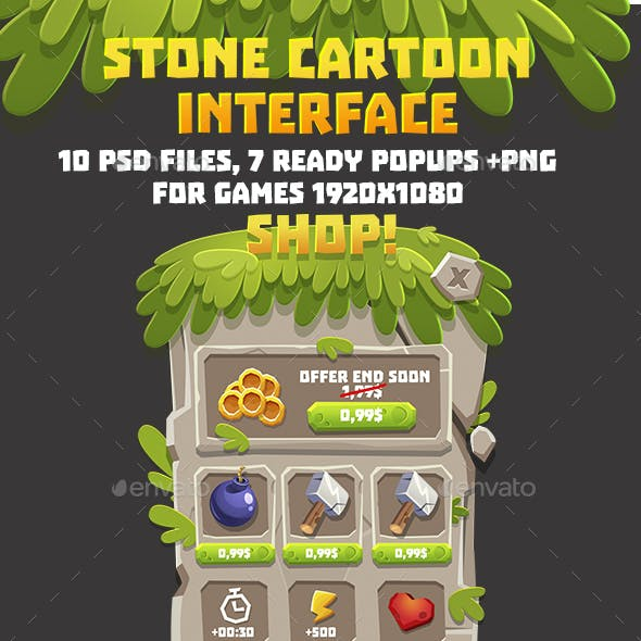 Stone Cartoon Style GUI Pack
