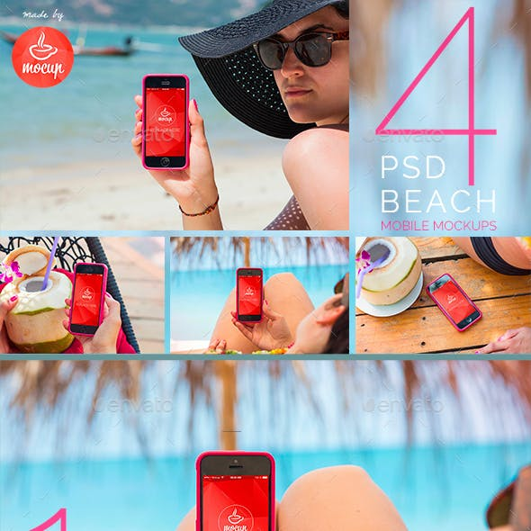 4 PSD Smartphone Mockups Tropical Holiday