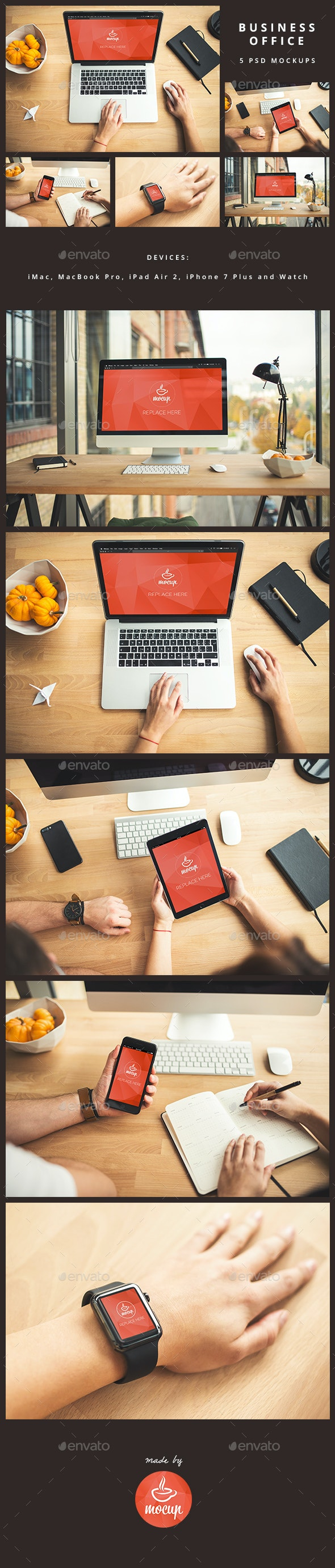5 PSD Mockups Business Wooden Office - Multiple Displays