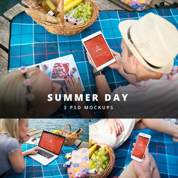 3 PSD Mockups Summer Day