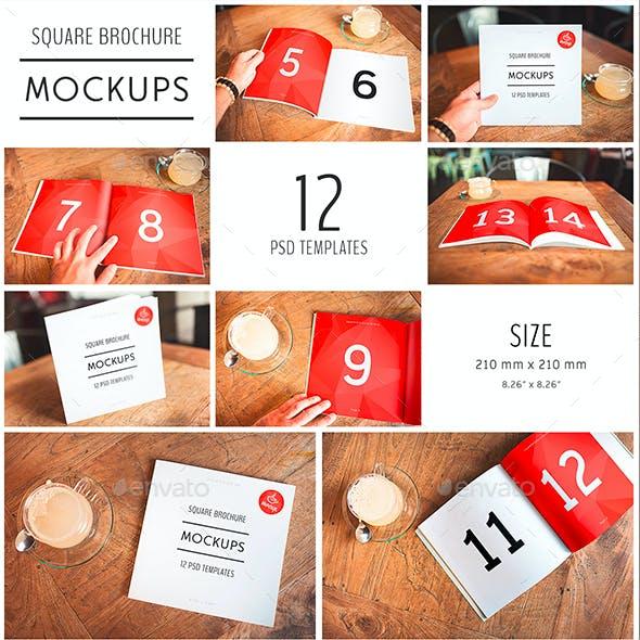 12 PSD Square Brochure Mockup